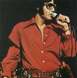 Elvis in red shirt wearing big sunglasses