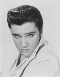 black and white photo of Elvis Presley