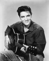 Elvis Presley playing guitar_black and white