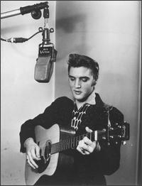 Elvis Presley singing at the studio