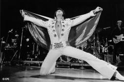 Elvis Presley singing on stage in white outfit